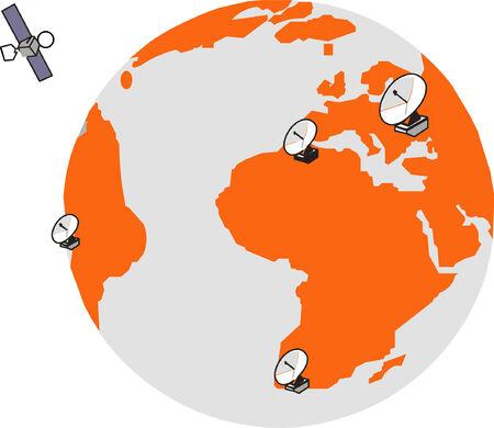 Globe with radars and satellite