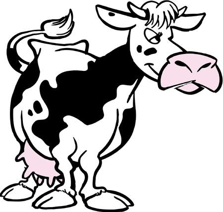 illustrierte: Vector lustigen Comic-Kuh stehend und Kauen Illustration