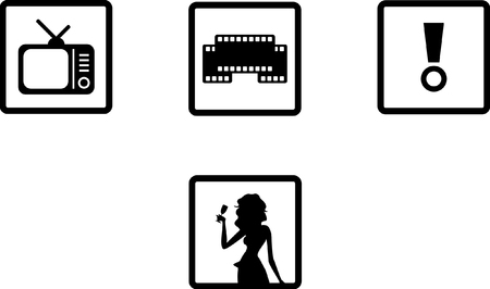 Set of illustrated entertainment icons Illustration