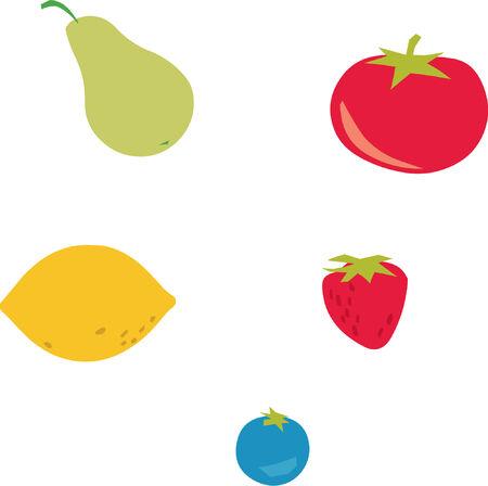 Lemon, pear, tomato, plum and strawberry Vector