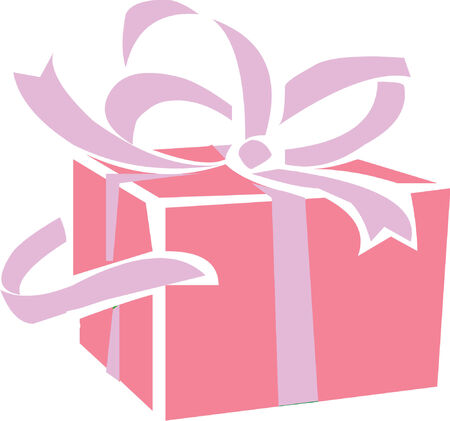 Illustrated pink gift parcel with violet ribbons