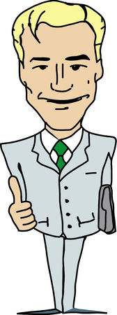 zeichnung: Vector blond manager in light suit showing his thumb up