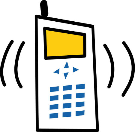 Illustrated cell phone ringing on white background