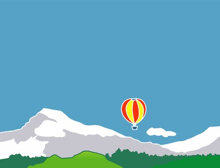 Air baloon in the mountains Stock Vector - 4031666