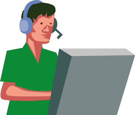 air traffic: Ilustrado avi�n controlador sentado en su auriculares