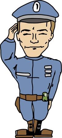 saluting: Cartoon vector policeman saluting you