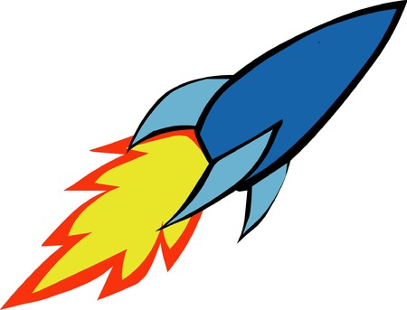 cartoon rocket: Illustrated space rocket with flame exhaust