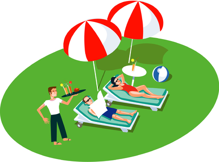 Illustrated vector people on vacation