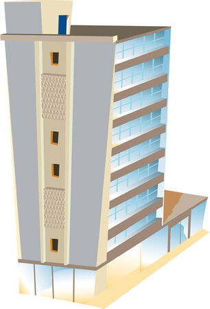 Illustrated vector skyscraper hotel standing alone Illustration