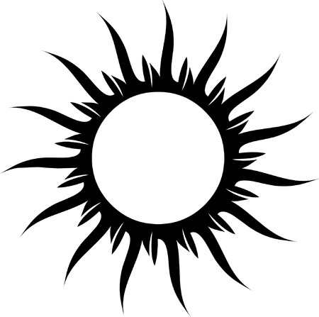 sol: Vector black and white sun for tattoo