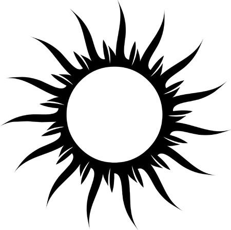 vectorized: Vectores en blanco y negro sol para tatuaje Vectores