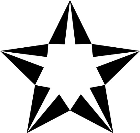 zeichnung: Vector black and white star for tattoo  Illustration