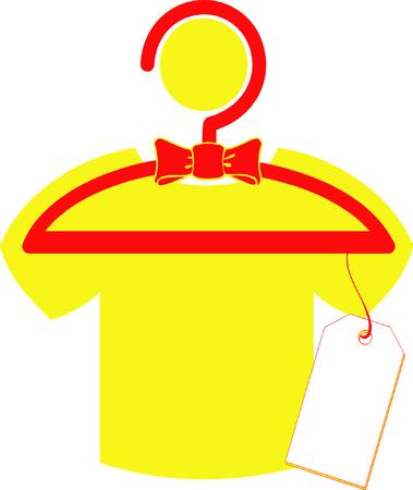 Illustrated yellow t-shirt hanging on rack
