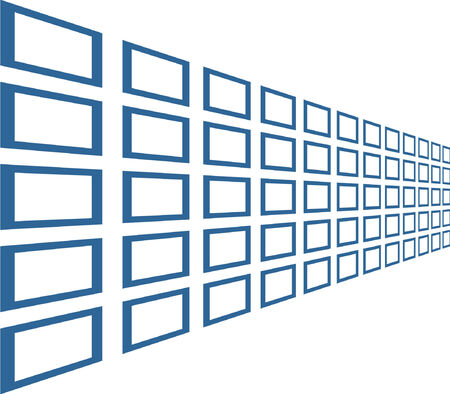 Lot of vector windows shown in perspective