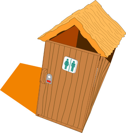 Illustrated wood toilet with door closed Vector