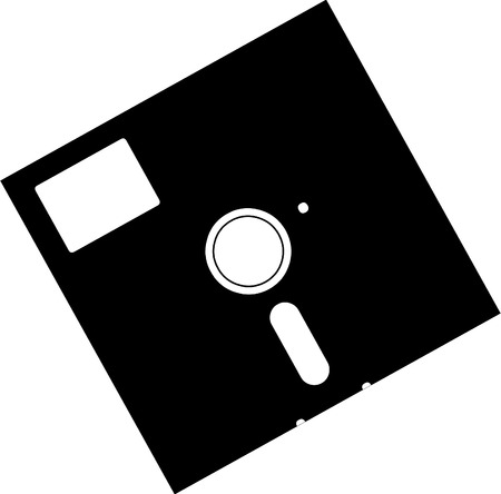 Vector illustrated old floppy disk on white background Illustration