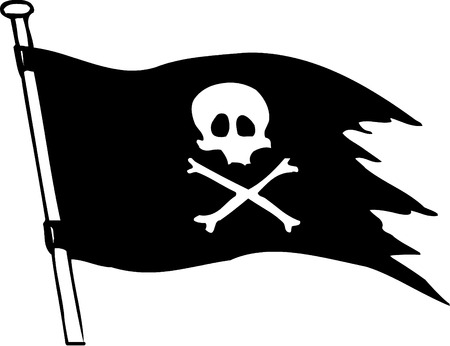 Vector black pirate flag with skull and bones