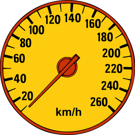 Vector illustrated cartoon speedometer on white background
