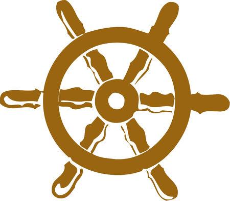 Vector illustrated cartoon ship steering wheel Illustration