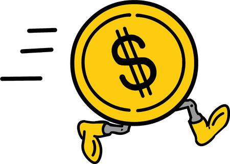 Vector illustrated coin dollar running