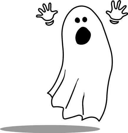 scaring: Vector illustrated ghost scaring on white background