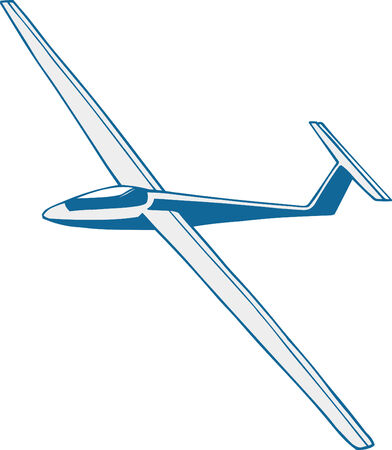 Vector illustrated glider on the white background