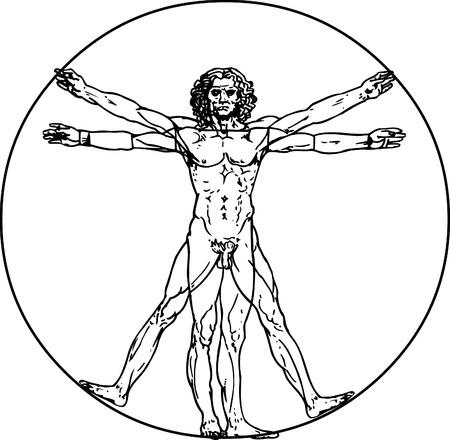 uomo vitruviano: Leonardo da Vinci, l'uomo in Vitruvio vettore Vettoriali