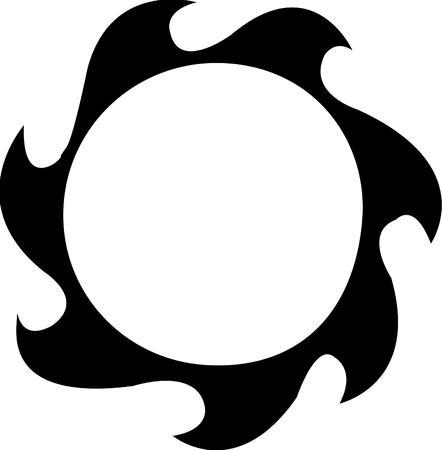 Vector illustrated tattoo sun on white background Illustration