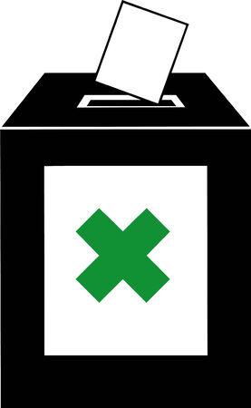 Vector illustrated ballot box on white background