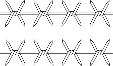 Vector illustrated barbed wire on white background