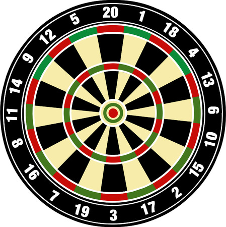 Vector illustrated dart board on white bacgkround