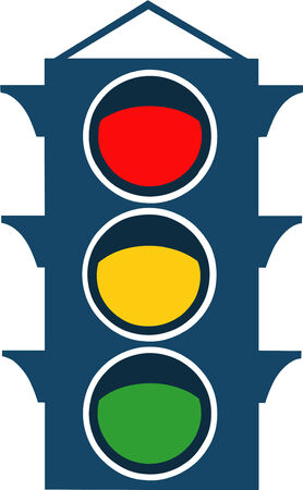 Vector illustrated traffic lights on white background