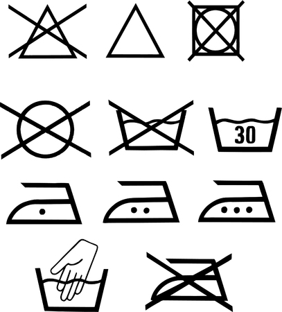 Set of vector illustrated washing pictograms