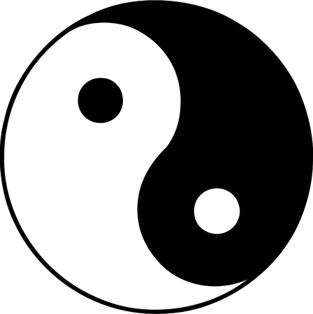 Vector illustrated ying and yang symbol on white background