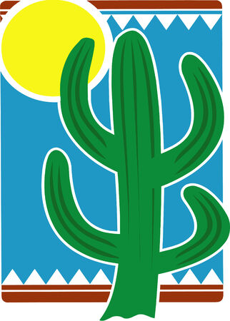 Vector illustrated mexican cactus and sun
