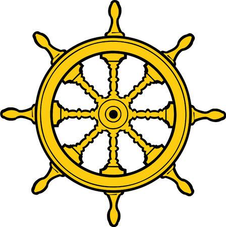 Vector illustrated steering nautical wheel Illustration