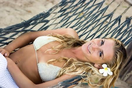 Blonde girl in the hammock Stock Photo - 10809209
