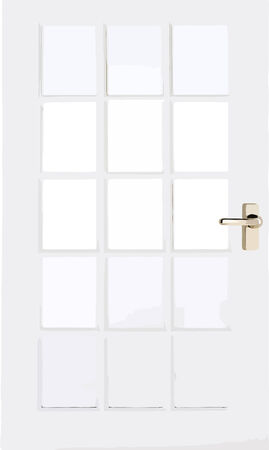 Vector illustrated white door with handle isolated