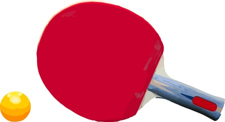 Vector ping pong racket and ball isolated