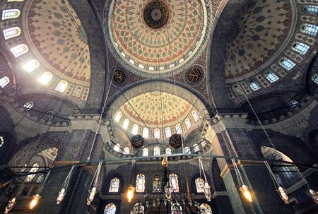 the blue domes: Inside the islamic mosque in Istanbul, Turkey Editorial