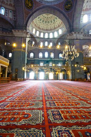 Inside the islamic mosque in Istanbul, Turkey Editorial