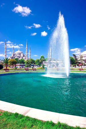 Fountains and the Blue Mosque behind in Istanbul