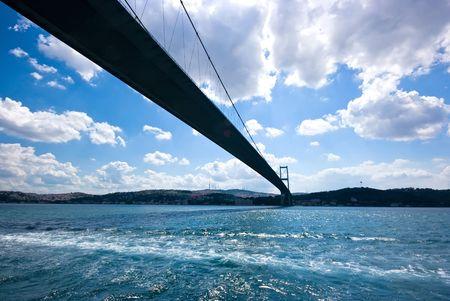 The Bosphorus strait bridge between Asia and Europe