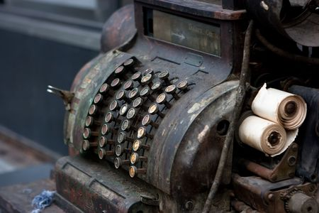 Old cash register machine with rust Stock Photo