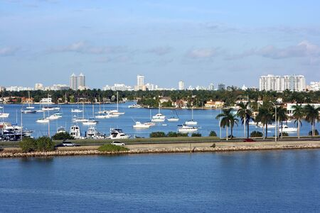 Miami cityscape on summer day with yachts Stock Photo