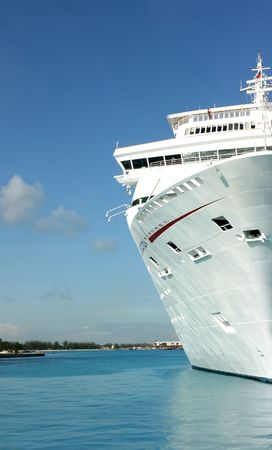 Ocean cruise ship anchored in the port Stock Photo