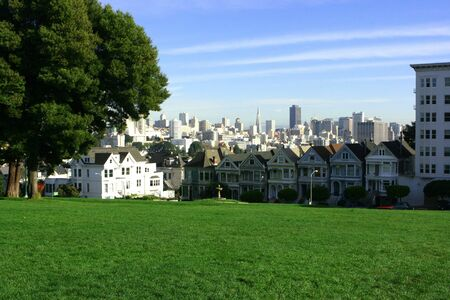 San Francisco venetian houses as seen from the park Stock Photo