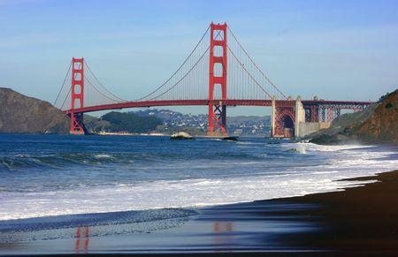 Golden gate bridge as seen from the Baker beach, San Francisco, California photo