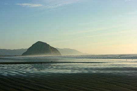Beautiful sand beach in California at sunset Stock Photo