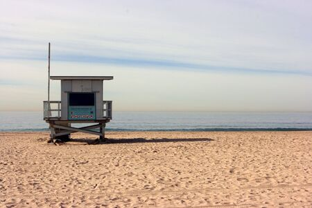 Lifeguard booth standing alone on the beach
